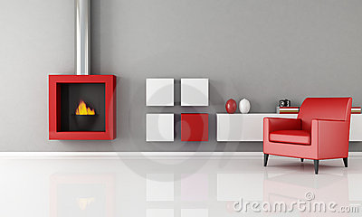 Minimalist fireplace in a living room