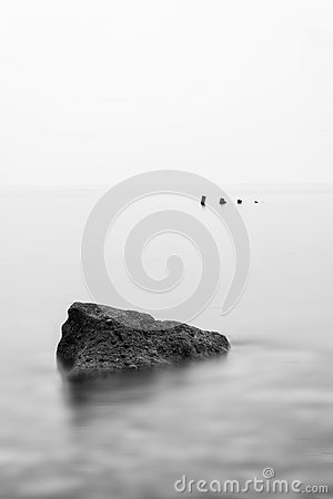 Free Minimalist Landscape Image Of Shipwreck Ruin In Sea Black And Wh Stock Photography - 45270632