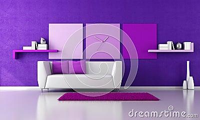 Minimalist purple livingroom