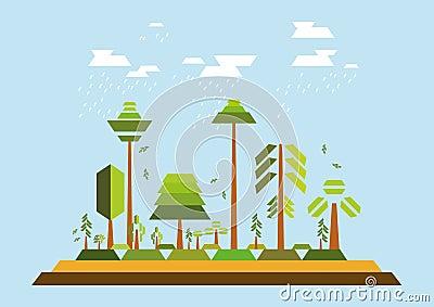 Minimalist Trees Environment Vector Illustration