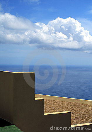 Minimalist wall and roof with a sea view