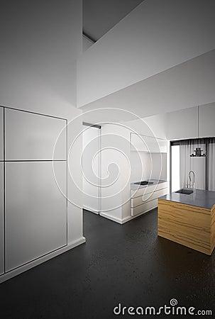 Minimalist white kitchen