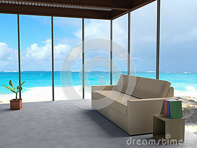 Minimalistic interior overlooking blue seas