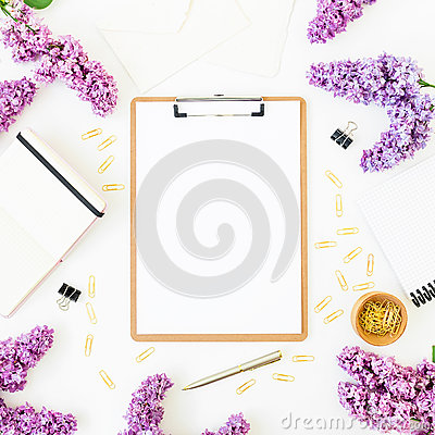 Free Minimalistic Workspace Desk With Clipboard, Notebook, Pen, Lilac And Accessories On White Background. Flat Lay, Top View. Beauty B Stock Photo - 93430420