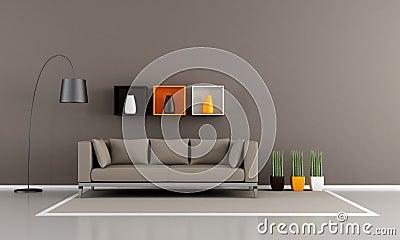 Minimalistische bruine woonkamer royalty vrije stock - Afbeelding eigentijdse woonkamer ...