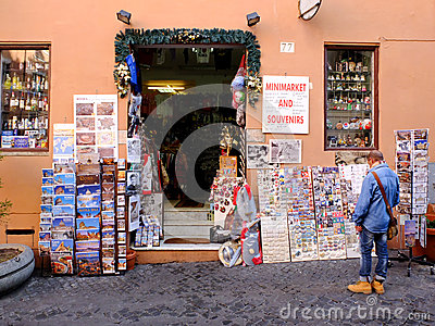 Minimarket and souvenirs in Rome Editorial Photo