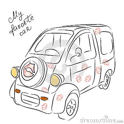 Minivan croquis de voiture illustration de vecteur image 78041411 - Croquis voiture ...