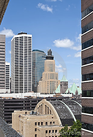 Minneapolis old and modern downtown city buildings