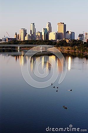 Free Minneapolis Skyline And Geese Stock Image - 315511