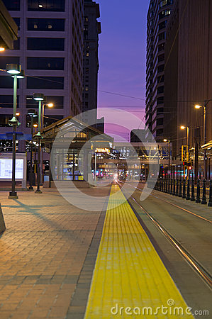 Minneapollis Light Rail at Night Editorial Image