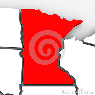 Minnesota Red Abstract 3D State Map United States America