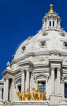 Minnesota State Capitol Dome and Horses St Paul MN