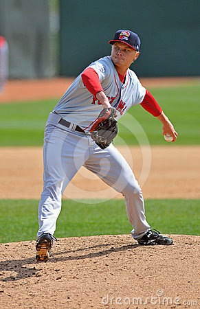 Minor League baseball pitcher - delivery (lefty) Editorial Stock Photo