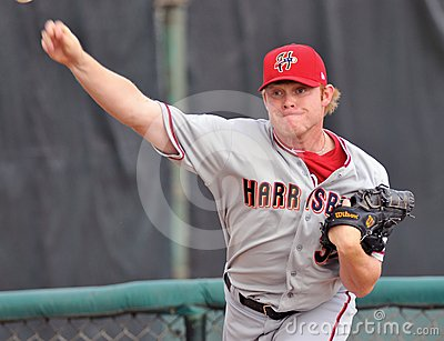Minor league baseball - pitcher warming up Editorial Stock Image