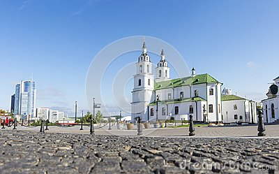 Minsk Famous Landmark. Cathedral Of Holy Spirit In Minsk. Orthodox church of Belarus and symbol of Capital Stock Photo