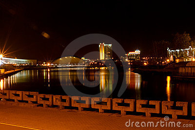 Minsk at night Editorial Stock Image