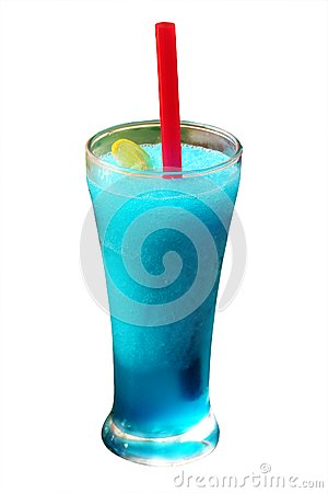 Mint flavored blue juice smoothie with ice, lime