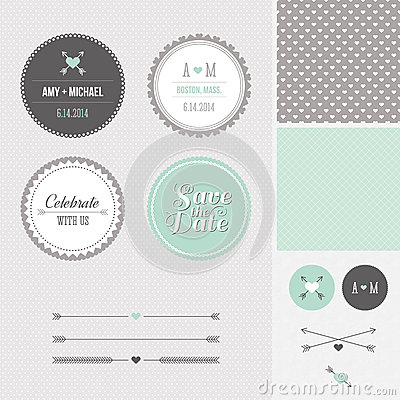 Free Mint + Gray Save The Date Wedding Graphic Set Stock Photos - 28403813
