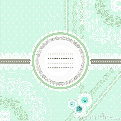 Mint ice cream lace design for greeting card