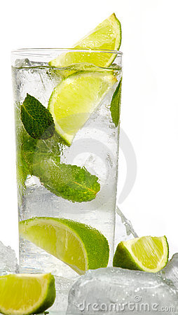 Mint, lime ice vodka