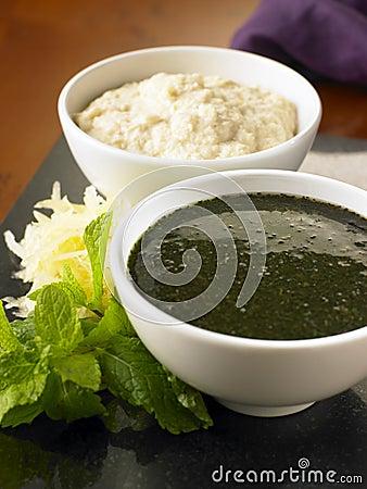 Mint sauce and horseradish sauce