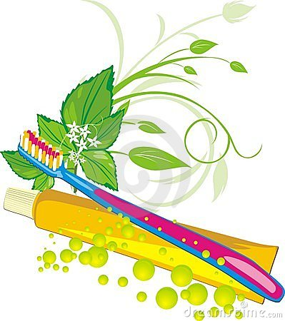 Mint sprig, drops, tooth brush and paste