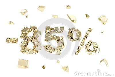 Minus eighty five percent discount emblem composition isolated