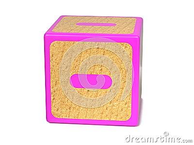 Minus Sign - Childrens Alphabet Block.