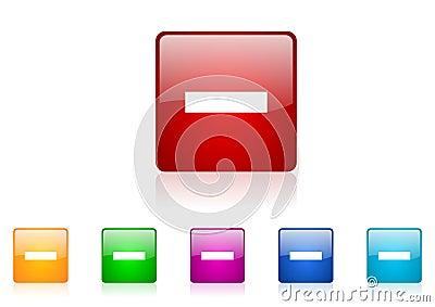 Minus square web glossy icon