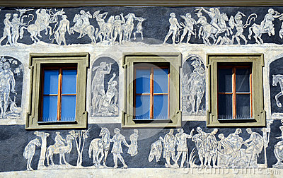 The Minute House facade detail, Prague