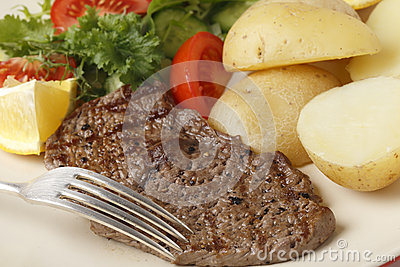 Minute steak meal closeup with fork