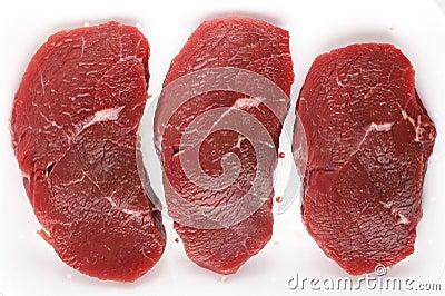 Minute steaks in a butchers tray
