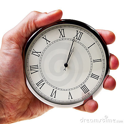 Minute zum Mitternacht oder Mittag auf Retro- Uhr.