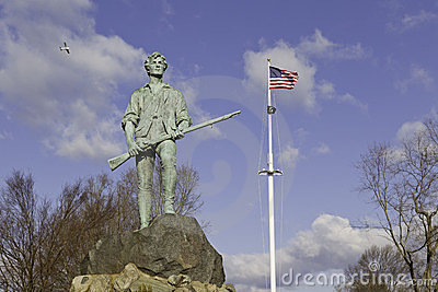 Minuteman Statue and US Flag