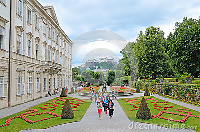 Mirabell gardens in Salzburg, Austria. Editorial Photo