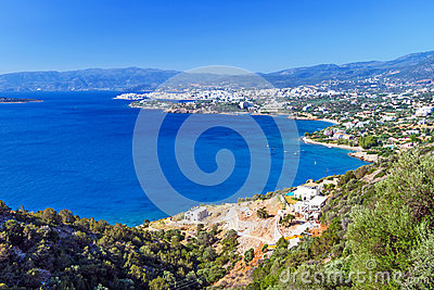 Mirabello Bay with Agios Nikolaos town on Crete