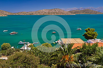 Mirabello Bay with turquoise lagoon on Crete