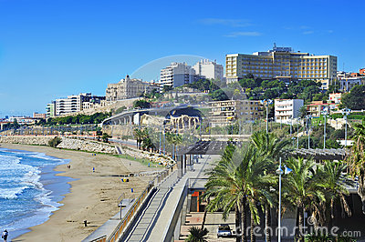 Miracle Beach in Tarragona, Spain Editorial Stock Photo