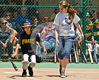 Miracle League Softball for Handicapped Children Editorial Stock Photo