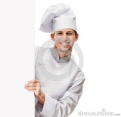 Mirada hacia fuera del cocinero