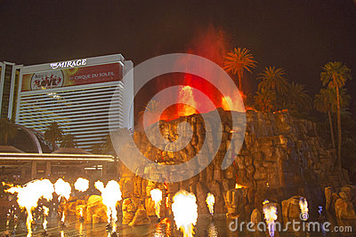 The Mirage Hotel artificial Volcano Eruption show in Las Vegas Editorial Photography