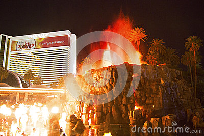 The Mirage Hotel artificial Volcano Eruption show in Las Vegas Editorial Image