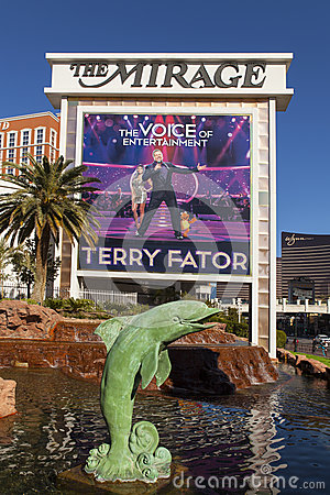 The Mirage Hotel Sign in Las Vegas, NV on December 10, 2013 Editorial Image