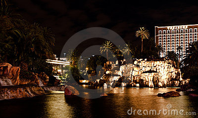 Mirage Pond and Volcano Editorial Stock Image