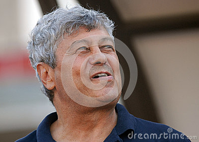 Mircea Lucescu in Dinamo Bucharest-Shaktar Donetk Editorial Photo