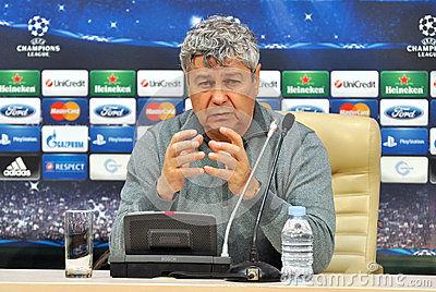 Mircea Lucescu speaks to reporters Editorial Stock Photo