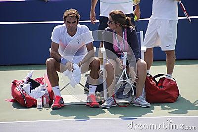 Ρότζερ και Mirka Federer Εκδοτική εικόνα