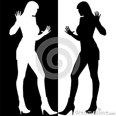 Miroir noir et blanc de silhouette de filles photographie stock libre de droi - Miroir noir et blanc ...