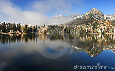 Mirror in a beautiful lake in the High Tatras