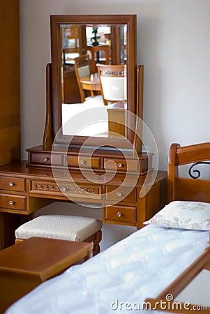 Mirror, Bed, Furniture In  Bedroom.